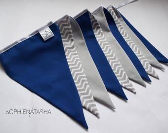 Nursery Bunting Navy Blue and Grey Handmade Fabric Bunting - 10 Flags, 2 M - Blue, Grey and Grey Chevron Fabric