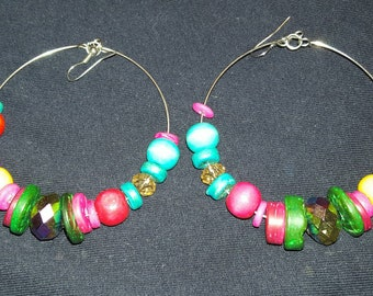 Hand designed Multistoned Hoop earrings