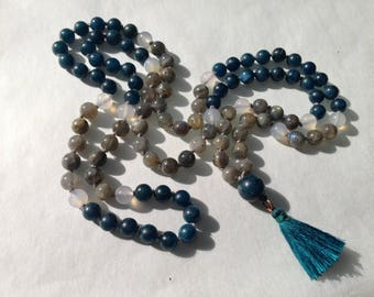 Apatite, Labradorite and Moonstone 108 Bead Mala