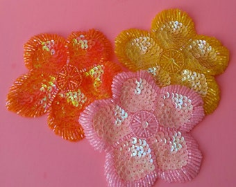 3 pc Sequin and Bead Flower Appliques - 4 inches- Pastel Pink Yellow Orange