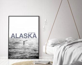 Printable whale poster, post modern sea, Alaska decor, instant ocean, black and white, purple letter, cozy, digital file