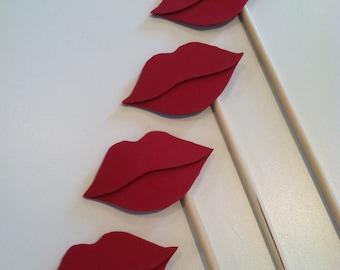 LIP STICKS Set of 5 red hand cut lip sticks