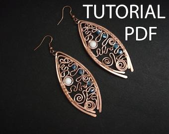 Wire wrap earrings tutorial, jewelry tutorial, copper earrings tutorial, jewelry lessons, jewelry instruction, wire wrap tutorial, pdf file