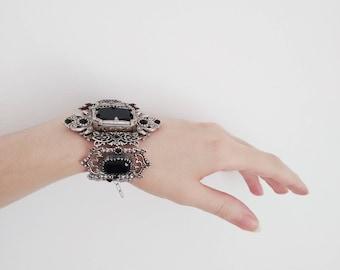 Gothic Bracelet Gothic Jewelry Silver Statement Bracelet Black Swarovski Crystal Bracelet Medieval Gothic Bridal Jewelry Halloween Wedding