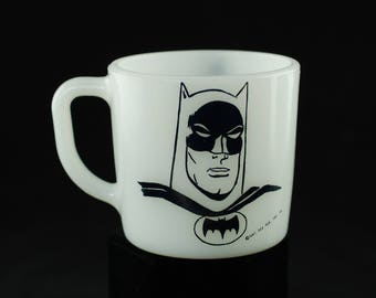Vintage 1966 Batman DC Comics Westfield Heat Proof Milk Glass Mug
