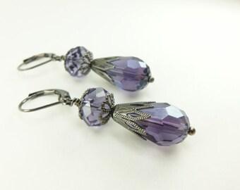 Violet Dangle Earrings Purple Teardrop Dangle Earrings Gunmetal Dark Silver Leverback Drops Crystal Beaded