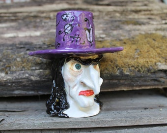 Witch Sculpture ceramic Halloween Candle holder,Handmade purple candlestick,spooky Candle holder,clay art,Halloween decor,creepy candlestick