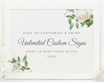 Unlimited Printable Wedding Signs | INSTANT DOWNLOAD | Ivory Botanical | Custom Wedding Sign | for Word or Pages | 11x8.5 | Wedding Decor