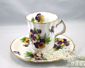 Lovely, Hammersley Duo, Pansies Raised Pattern, Gold Rims, Bone English China made in 1970s.