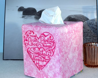 Words of the Heart Embroidered Fabric Tissue Box Cover