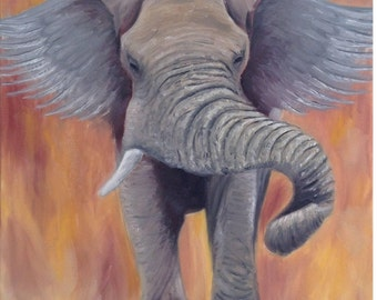 Fine Art Giclee Print of Original Oil Painting - Elephant with Wings