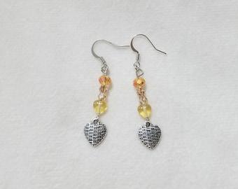 Yellow Woven Heart Earrings