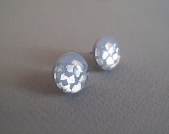 Gray Blue Silver Flakes Round Stud Earrings - Hypoallergenic Surgical Steel Post