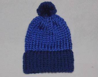 Children's Winter Hat, Blue Hat, Knitted Winter Hat, Knit Children's Beanie, Skiing Hat, Toddler Hat, Pom Pom Hat