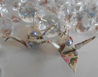 Origami cranes shabby earrings Lavender pearls