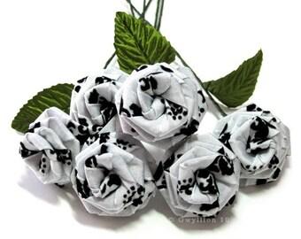 Classic Black and White Damask Velvet Rose Bouquet