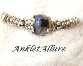 Anklet Ankle Bracelet Marbled Shell Anklet Beach Anklet Beach Jewelry Cruise Jewelry Purple Anklet