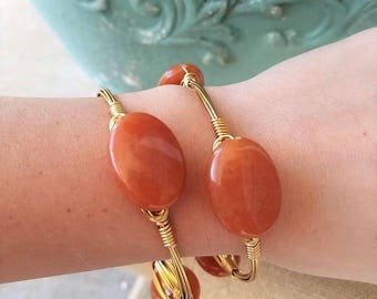 Red Aventurine Oval Bangle, Aventurine Bangle, Stack Stone Bangle, Aeventurine Jewelry, Aventurine Bracelets, Stackable Bangles, Orange