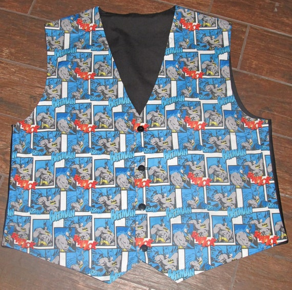 Batman Print men's sporty vests with buttons for closure in 8 sizes