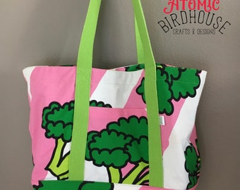 Reusable Grocery Sack - Market Tote - Large Grocery Bag - Broccoli Bag - Farmers Market Tote Bag - Washable Reusable Bag - READY TO SHIP