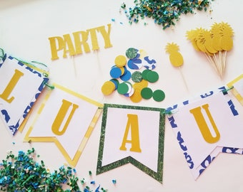 LUAU Theme Party Set, Hawaii, Complete Party Set, Party Theme Kit, Party Decorations, Birthday Party Decor, Baby Shower Theme Ready to Ship