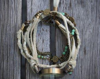 Women watches boho for wrist, wrap bracelet style, white braided leather, oriental style charm, turquoises precious stones.-MO11