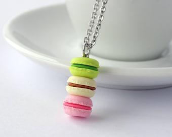 Cute stacked pastel green vanilla pink macaron necklace kawaii miniature food charm necklace macarons pendant