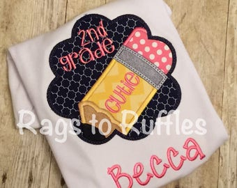 Back To School Personalized Shirt- 2nd grade Shirt- Monogrammed Back to School Shirt