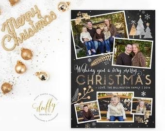 Holiday Photo Card, Christmas Photo Card, Photo Christmas Card, Holiday Card, Christmas Card, Gold Silver Glitter 5x7 Printable Holiday Card