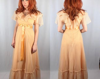 Vintage 1970's Sheer Peach Maxi Dress Prom Gown Small