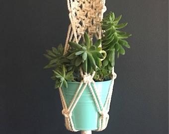 Scandi macrame wall/plant hanger in white. Handmade in Australia.