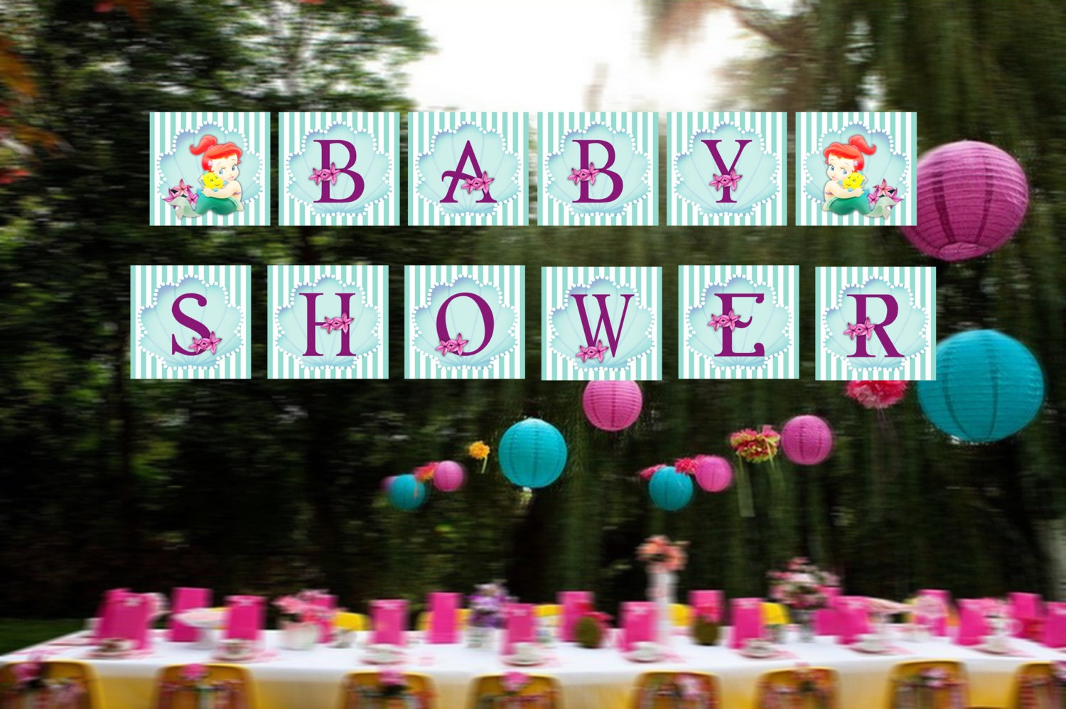 The Little Mermaid Baby Shower Banner Princess Ariel Baby
