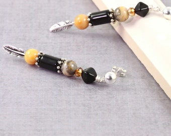 Silver Feather Earrings Yellow Agate Jewelry Post Earrings Black Onyx Earrings Stud Earrings Southwestern Jewelry Crazy Lace Agate Earrings