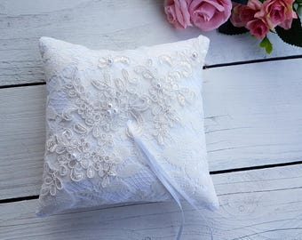 Ivory lace ring pillow, aplique ring pillow, embelished lace ring pillow