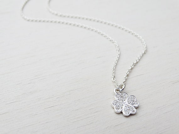 Tiny Silver 4 Leaf Clover Necklace With Cubic Zirconia, Sterling Silver, Good Luck