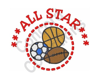 All Star - Machine Embroidery Design, Sports, Soccer Ball, Basketball, Football