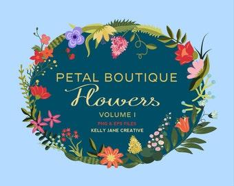 Hand Drawn Flower & Leaf Clip Art Petal Boutique Vol. 1 - Blog Graphics - Instant Download includes EPS Vectors