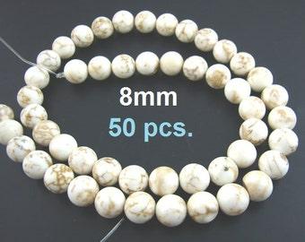 50 Beads - 8mm White Turquoise Imitation Dyed Round Beads - 15 inch strand