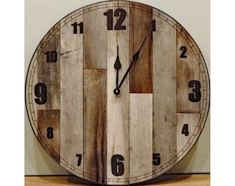 24 inch Large Rustic Wall Clock * Big Barn Wood Clock with reclaimed wood, raw steel ring, rusty screws