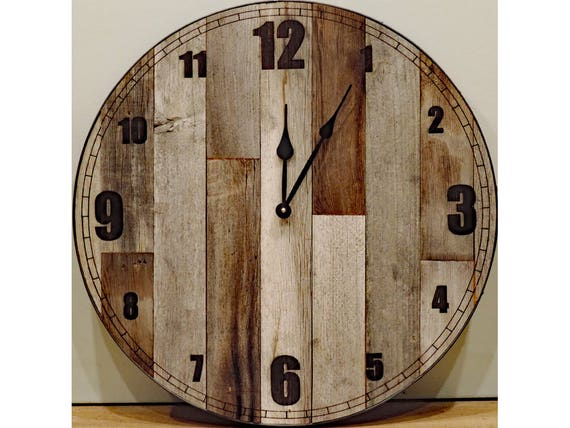 24 Inch Large Rustic Wall Clock Big Barn Wood Clock With