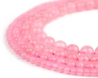 "Natural Rose Quartz Beads 4mm 6mm 8mm 10mm 12mm Polished Round 15.5"" Full Strand Wholesale Gemstones"