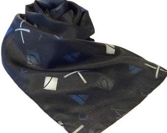 Black Silk Scarf, Black Scarf, Wearable Art Scarf, Abstract Scarf, Black Silk Scarf with Silver and Blue - #S-9-103
