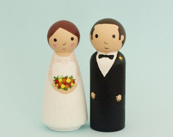 Wedding Cake Topper Bride and Groom - Custom Wedding Cake Topper Bride and Groom - Personalised Wedding Cake Topper - Wooden Peg Cake Topper