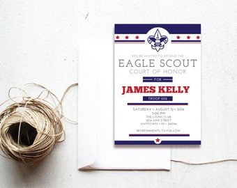 INSTANT DOWNLOAD Eagle Court of Honor invitation / Eagle Court ceremony / Boy Scouts invitation / patriotic Eagle Court
