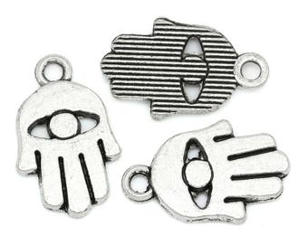 Hand- and -eye silver-plated charms 6