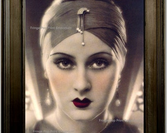 Art Deco Flapper Art Print 8 x 10 - Great Gatsby Era - 1920s Jazz Age Roaring 20s Pin Up Glamourous Fashion Model Striking Portrait