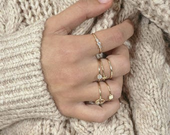 Dainty circle ring - simple circle ring - round cz ring - gold circle ring - tiny circle ring - delicate round ring - gold stacking rings