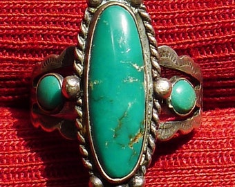 Harvey Era Southwest Stamped Sterling Silver Turquoise Ring