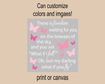 butterfly nursery decor what if I fall? Oh but my darling what if you fly butterfly nursery wall decor nursery sign purple and gray