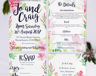 Summer Floral Wedding Invitation with matching RSVP - Sample